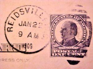 Nice ANTIQUE PreStamped Wm McKinley USPS Postal Card 1 Cent Postmarked 1909 M273