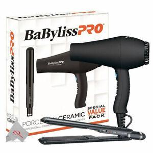 BaBylissPro Porcelain Carrera2 Hair Dryer & 1 Inch Straightening Iron Combo