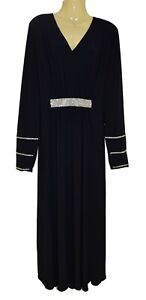 New Yumnas Ramadan Muslim Abaya Women Kimono Navy Islamic Jilbab Kaftan Diamante