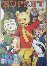 KNITTING PATTERN Book Rupert The Bear 5 Jumper Design Intarsia Gary Kennedy 1988