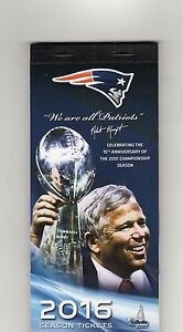 2016 2017 WORLD CHAMPS NEW ENGLAND PATRIOTS SEASON TICKET BOOK WITH PLAYOFFS