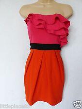 BNWT LIPSY bright red pink orange stretch frill tulip  wiggle dress party club