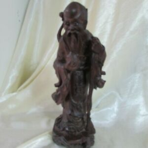 ANTIQUE CHINESE WOODEN IMMORTAL STATUE 24.5 CM