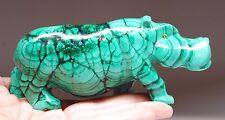 646 Gram Natural Green Malachite Hippo Sculpture From Congo Rg41