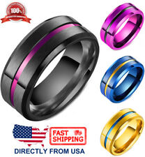 Men's Stainless Steel Ring, Color Stripe 8mm Comfort Fit Wedding Band