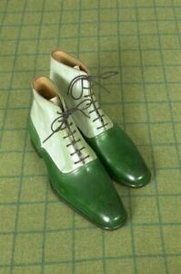Handmade Two Tone High Ankle Boots, Men Green and White Brogue Ankle Boots