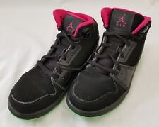 Kids Size 13C Black Pink Nike Air Jordan Suede Leather Shoes 631785-018 preowned