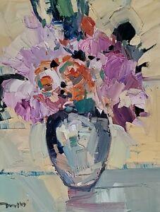 JOSE TRUJILLO Oil Painting IMPRESSIONISM STILL LIFE FLOWERS ROSES PINK MODERN