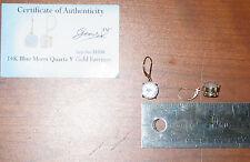 9.862ct Blue Moon Quartz Earrings 14k yellow gold GemsTV leverback round white