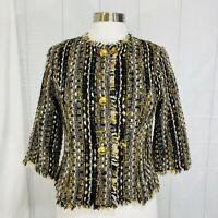 CAbi Small Jacket Blazer #175 Brown Gold Boucle Tweed Fringe Wool Blend Crop #X