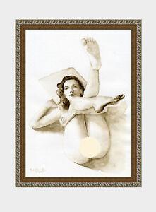 aquarelle watercolor A4 nude female drawing originale nu women woman girl new 3