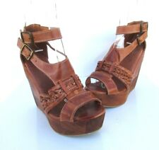 Bed Stu Women's Paloma Wedge Sandals Cognac Dip Dye Size 7