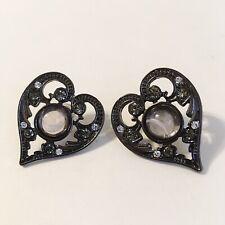 Grey Clear Rhinestones Post Pierced 00004000 Heart Stone Earrings Marcasite Gun Metal