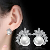 925 Sterling Silver Pearl Crystal Tree Leaf Stud Earrings Mother's Day Jewelry