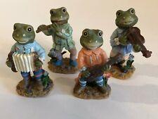 Vintage Toad Frog Music Quartet Figurines Miniatures Flute Guitar Accordion