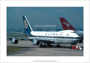 """Olympic Airways Boeing 747-212B A2 Art Print Dep. Sydney – 59 x 42 cm 23"""" x 17"""""""