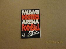 Afl Miami Hooters Vintage Defunct 1994 Pocket Schedule