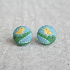 Alligator and Bird Fabric Button Earrings