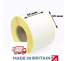More details for 58mm x 60mm plain white direct thermal scale labels permanent adhesive - cas