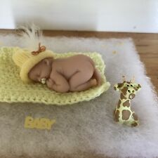 2.5 IN MINIATURE OOAK POLYMER CLAY BALD BABY DOLL With Little GIRAFFE