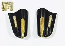 Designer-Ohrclips SVEN BOLTENSTERN- gewellter Onyx + Brillanten - 750er Gold
