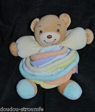 Peluche Doudou Ours  Boule  KALOO 2005 Candies Candy Spirale Jaune 18 Cm TTBE