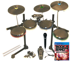 PS3 PS4 PS5 Rock Band ION Rocker Pro-Set *3X Pro-Cymbals*Kick Pedal*Sticks*Game