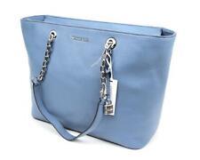 Michael Kors Mercer Chain Medium Top Zip Leather Tote/Shoulder Bag in Denim Blue