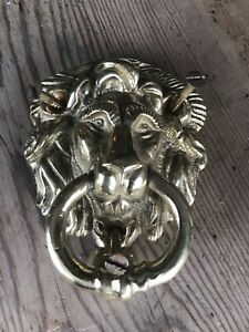 BRASS LION DOOR KNOCKER Reproduction VGC