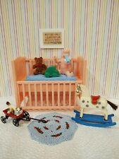 Rare Ideal Young Decorator Nursery Crib / Plasco Doll Tin Dollhouse Furniture