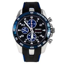 NEW Seiko Sportura Chronograph SNAE91P1 BlacK Dial Black Rubber Mens Watch