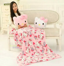 New 2in1 Hello Kitty Back Cushion & Supersoft Plush Bedroom Blanket Throw Cover