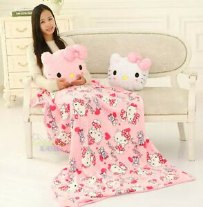 Cute Home 2in1 Back Cushion Pillow + Supersoft Plush Bedroom Blanket Throw Cover