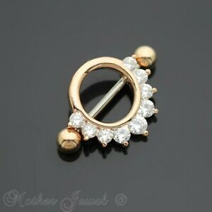 SIMULATED DIAMOND 14K ROSE GOLD IP ROUND CIRCLE SHIELD NIPPLE BAR RING