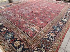 Antique Worn Hand Made Traditional Oriental Wool Red Large Carpet 407x320cm
