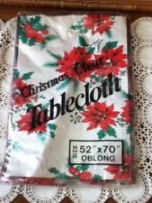 Woolworth Vtg Christmas Clear Vinyl Table Cloth Floral Holly Berry 52x70 Oblong