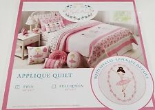 Lyla Rose 2Pc Ballerina Ballet Twin Quilt Set Floral Pink White kids girl New