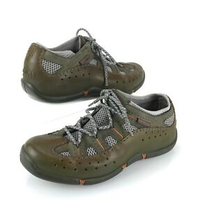 SPERRY Figawi TOP-SIDER 9.5 Green Leather Rubber Hydro Quadro Grip Sneaker Shoes
