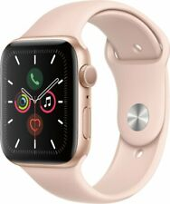 Apple Watch Series 5 44mm Gold Aluminium Case Pink Sand Sport Band MWVE2LL/A NEW