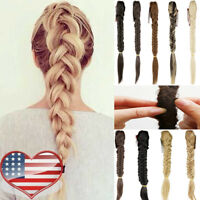 Chunky Hair no Clip Synthetic Extensions Plaited Elastic Braided Claw Pony Tail
