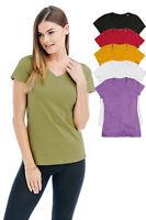 Ladies Womens Plain Organic Cotton Short Sleeve Vee V Neck Tee T-Shirt Tshirt