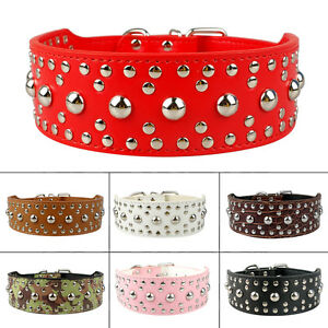 2.0 inch Wide Studded PU Leather Pet Dog Collars for Medium Large Dogs Pit Bull