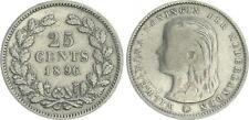 Niederlande 25 Cent 1896, Silber Wilhelmina ss/ss+