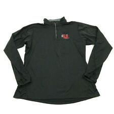 Cg Utah Utes 1/4 Zip Black Polo Dry Fit Long Sleeve Thumbholes 3M Reflective Run
