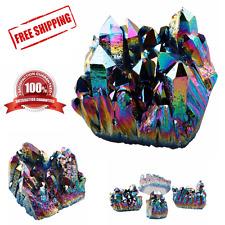 Natural Crystal Aura Quartz Amethyst Rainbow Titanium Specimen Cluster Stone