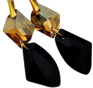 EARRINGS ORIGINAL CRYSTALS *COSMO JET* STERLING SILVER 24K GOLD PLATED