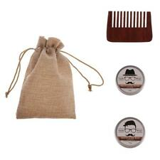 3 in 1 Men's Natural Beard Balm Mustache Wax Comb for Styling Moisturizing