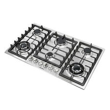 "Silver & Black 34"" Stainless Steel 6 Burner Built-In Stove Cooktops Cooker"