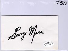 GEORGE MIRA JSA COA AUTO INDEX CARD AUTHENTIC CERTIFIED - MIAMI HURRICANE - T511