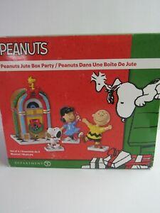 Dept 56 Peanuts Musical Christmas Juke Box Party 6000353 MIP Jute Box Set